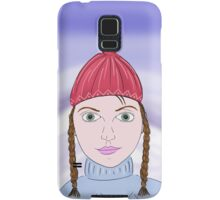 Cute Girl with Big Green Eyes and a Red Hat on a Snowy Scene with her Skis  Samsung Galaxy Case/Skin