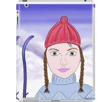 Cute Girl with Big Green Eyes and a Red Hat on a Snowy Scene with her Skis  iPad Case/Skin