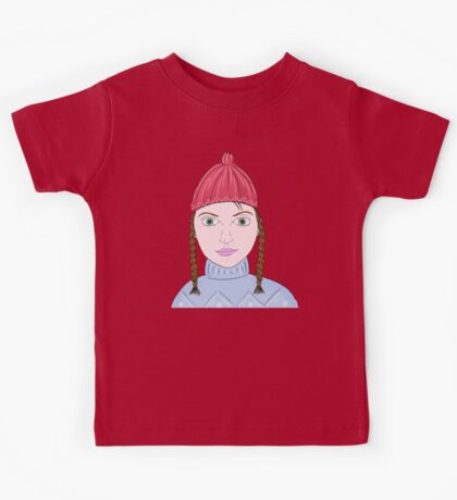 Cute Girl with Big Green Eyes and a Red Hat on a Snowy Scene with her Skis  Kids Tee
