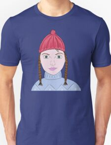 Cute Girl with Big Green Eyes and a Red Hat on a Snowy Scene with her Skis  T-Shirt