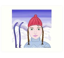 Cute Girl with Big Green Eyes and a Red Hat on a Snowy Scene with her Skis  Art Print