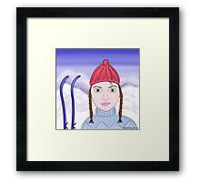 Cute Girl with Big Green Eyes and a Red Hat on a Snowy Scene with her Skis  Framed Print