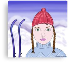 Cute Girl with Big Green Eyes and a Red Hat on a Snowy Scene with her Skis  Canvas Print