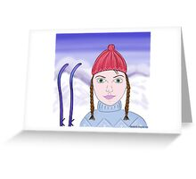 Cute Girl with Big Green Eyes and a Red Hat on a Snowy Scene with her Skis  Greeting Card
