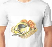 Morning Coffee with Croissants Unisex T-Shirt