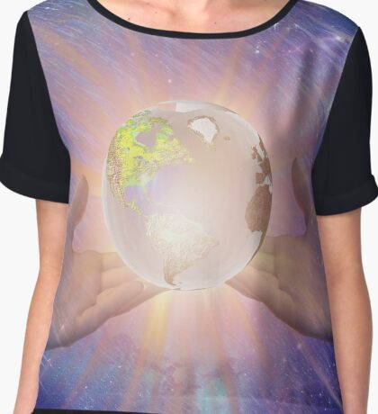Hands with a Glowing Earth Chiffon Top