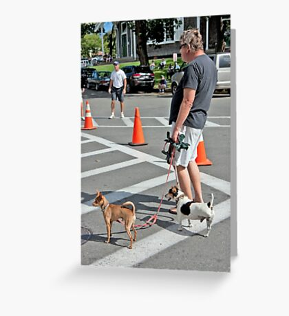 A Man, His Dogs, And Exercise Greeting Card