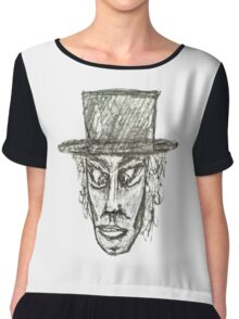 Man with Hat Head Pencil Drawing Illustration Chiffon Top
