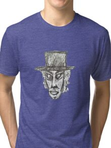 Man with Hat Head Pencil Drawing Illustration Tri-blend T-Shirt