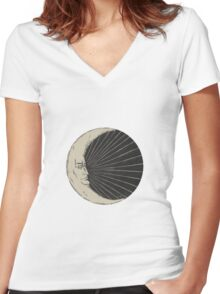 Crescent of Moon Women's Fitted V-Neck T-Shirt