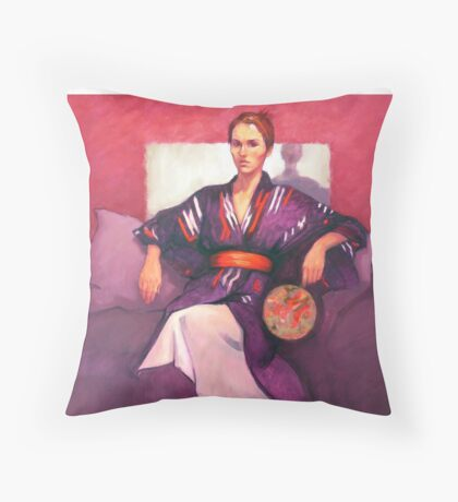 Portrait of Jo with fan, oil painting on canvas Throw Pillow