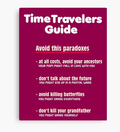 Time travelers guide Canvas Print