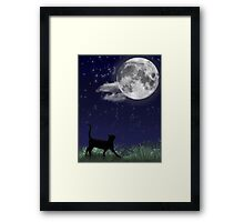 Cat and the Moon 1/6 Framed Print