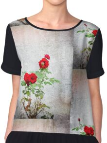 Red roses against wall Chiffon Top