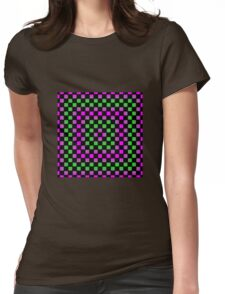 Checkerboard Gradient - Pink | Green | Black Womens Fitted T-Shirt