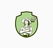 Female Organic Farmer Pitchfork Shield Retro Unisex T-Shirt