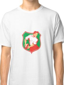 Rugby Player Passing Ball Shield Retro Classic T-Shirt
