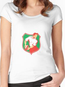 Rugby Player Passing Ball Shield Retro Women's Fitted Scoop T-Shirt