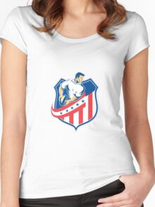 American Rugby Player Passing Ball Shield Retro Women's Fitted Scoop T-Shirt