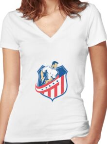 American Rugby Player Passing Ball Shield Retro Women's Fitted V-Neck T-Shirt