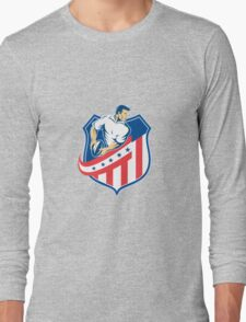 American Rugby Player Passing Ball Shield Retro Long Sleeve T-Shirt