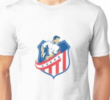 American Rugby Player Passing Ball Shield Retro Unisex T-Shirt