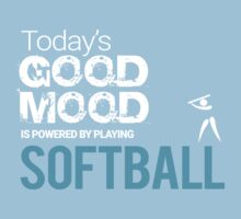 Today's Good Mood Is Powered by Playing Softball Kids Tee