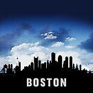 Boston Massachusetts Skyline Cityscape Nightfall by T-ShirtsGifts