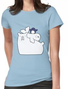 Polar Bear Harp Seal and Penguin Womens Fitted T-Shirt