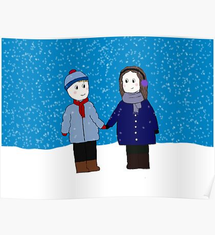 holding hands in the snow Poster