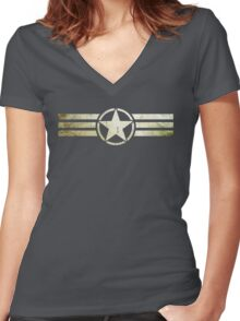 Military star with stripes grunge Women's Fitted V-Neck T-Shirt