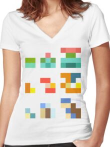Minimalist Pokemon starters Women's Fitted V-Neck T-Shirt