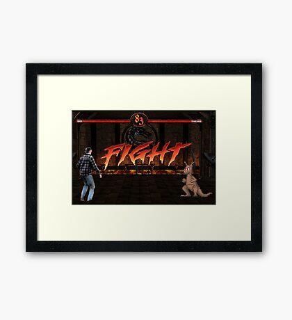 Fight! Man vs. Kangaroo Framed Print