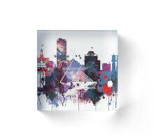 Milwaukee Watercolor Skyline Print, Home Decor,Unframed Wisconsin Art,Milwaukee skyline accessories Acrylic Block