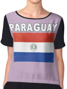 Paraguay Distressed Flag Soccer Theme Chiffon Top