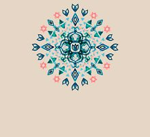 Watercolor Lotus Mandala in Teal & Salmon Pink Womens Fitted T-Shirt