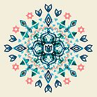 Watercolor Lotus Mandala in Teal & Salmon Pink by micklyn