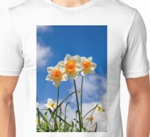 Spring Daffodil Flowers with Blue Sky Unisex T-Shirt