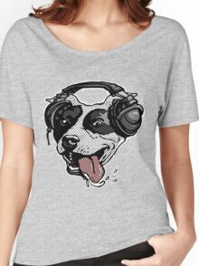 Cute Pit Bull Dog With Music Headphones Women's Relaxed Fit T-Shirt