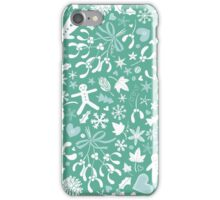 Mistletoe and Gingerbread Ditsy - Ice blue and teal iPhone Case/Skin