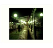 Old train at night in empty station green square Hasselblad medium format film analog photograph Art Print