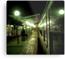 Old train at night in empty station green square Hasselblad medium format film analog photograph Metal Print
