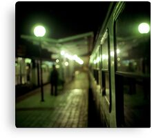 Old train at night in empty station green square Hasselblad medium format film analog photograph Canvas Print