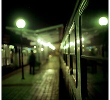 Old train at night in empty station green square Hasselblad medium format film analog photograph Photographic Print
