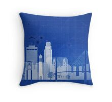Omaha blue print, ,Omaha Wall art, Omaha skyline, Nebraska cityscape, , Typography art,Omaha accessories  Throw Pillow