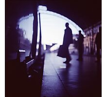 Passenger with luggage boarding old train in station blue square Hasselblad medium format film analog photo Photographic Print
