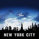 New York City Skyline Cityscape Nightfall by T-ShirtsGifts