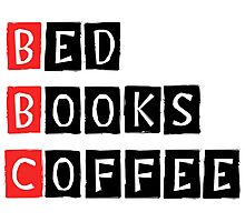 Bed, Books, Coffee Photographic Print