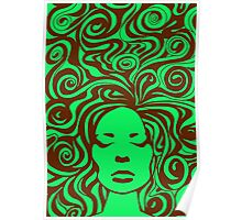 60s Psychedelic Green Poster