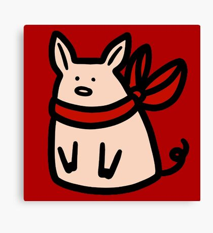 Red Ribbon Piggy Canvas Print
